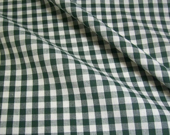 cotton fabric woven check fir-tree green white 1cm France