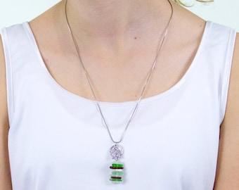Longevity. Pendant with sea glass and turtle.