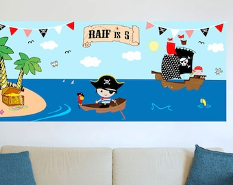 Pirate birthday party Wall Decoration. DIY Digital file/Printable.