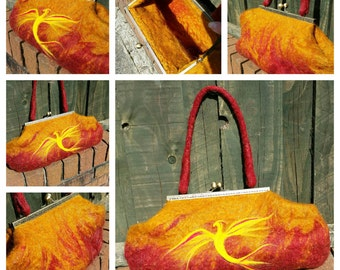 Phoenix rising from the flames. Wet felt handbag with needle felted detail. Red gold