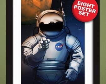 "8-Piece Poster Set – 2009 NASA ""Mars Explorers Wanted"" – Heavyweight 100% PCW Art Prints (12x18 Each)"