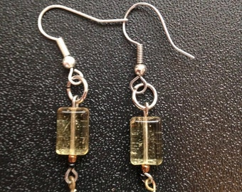 Handmade Glass bead hanging earrings