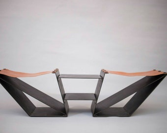 Metal based leather bench