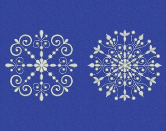 Snowflake machine embroidery design, Christmas embroidery design, Swirl embroidery pattern, Snowflake set #1, Instant download