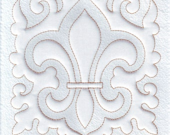 Fleur de Lis, Quilt Block, Machine Embroidery Design, Quilting, Trapunto, Digital Pattern, Instant Download