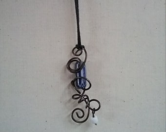 wire wrapped trade bead pendant