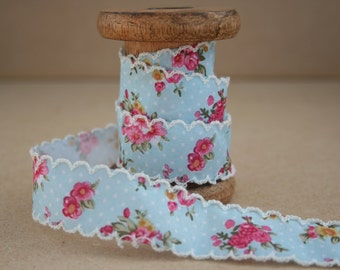 Berties Bows Floral Ribbon with Ivory Lace Edge Berties Bows Ribbon