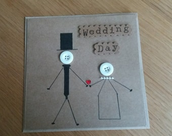 Wedding card - greetings card - kraft- buttons - bride -groom