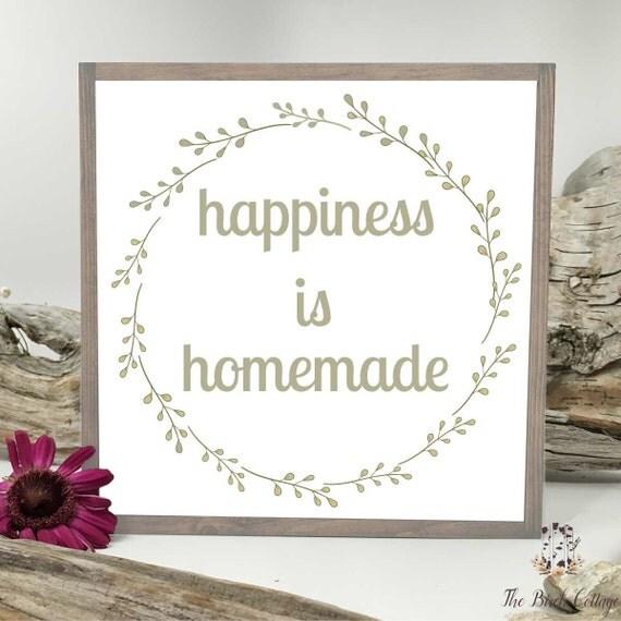 Happiness Is Homemade Handpainted Sign Handmade 12x12 Wall: Happiness Is Homemade Rustic Plank Wood By TheBirchCottageShop