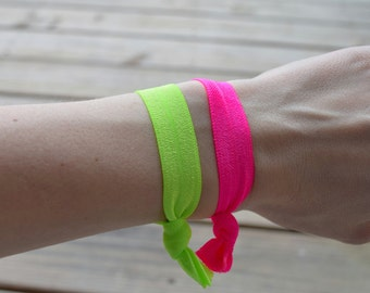 Neon Elastic Hair Ties, Bright Hair Ties, Stretchy Hair Ties, No Crease Hair Ties, Hair Band Bracelet, Ponytail Holder, Gift for Her