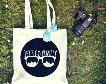 Let's Go Travel Sunglasses Tote Bag | Shopping Bag | Reusable Market Bag | Birthday Gift For Her & Him | Shopper Bag | Beach Grocery Bag