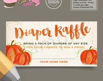 INSTANT DOWNLOAD - Sweet Little Pumpkin Baby Shower diaper Raffle insert card Watercolors pumpkin baby shower diaper raffle