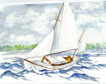 print of my watercolor painting, sailor adjusting his sails.