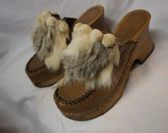 Platform Clog Sz 8 ~ Leather Wood Fur & Stud Detail Rustic Romance!!