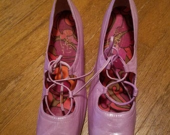 Nice 1960s lavender lace up heels size eight and a half by SRQ