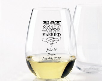 24 pcs Eat Drink and Be Married - Stemless Wine Glasses 9oz