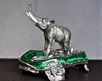 Elephant / Sterling Silver / Gold / Diamonds / Structure / Gift / Collectable