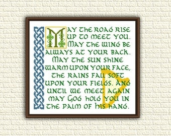 Irish Blessing - Cross stitch pattern pdf - May the road rise up to meet you - counted chart - x stitch - christian pattern - KbK-056