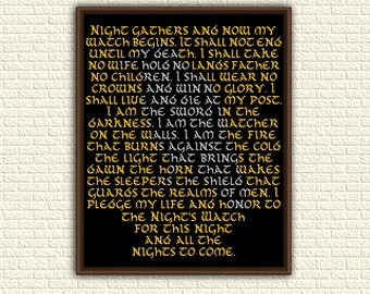Game of Thrones - Cross Stitch Pattern pdf - Night's Watch Oath - A song of ice and fire - Jon Snow - G.R.R. Martin - geeky - book - KbK-029