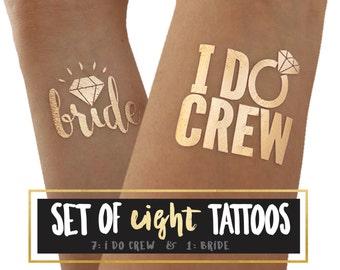 I DO CREW tattoos / set of 8 bachelorette party tattoos /  hen night tattoos / bride tattoo / stagette party / wedding party