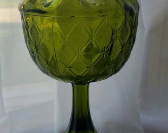 "Avocado Green Indiana Glass Pedestal Compote Bowl in the ""Duette"" Diamond Quilted Pattern"