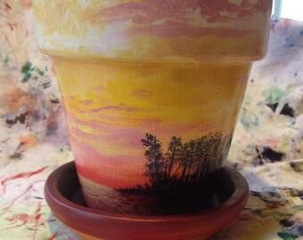 Flower pot - Yellow Sunset