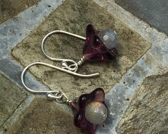 Purple Lucite Flower Earrings with Labradorite Gemstones