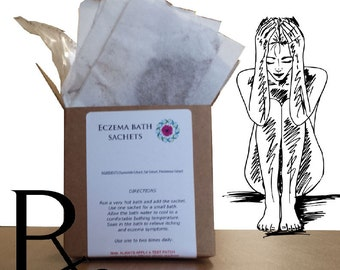 Eczema Bath Sachets - Soothes Itchy Skin, Repairs, Moisturizes and helps with the symptoms of allergy.