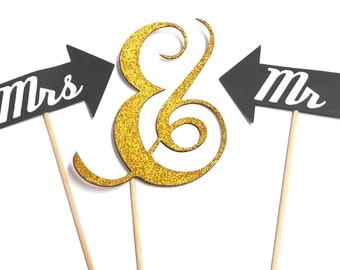 Photo Booth Props - Set of 3 Wedding Mr & Mrs Ampersand Glitter Gold Photo Booth Props