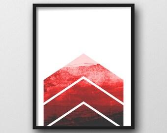 Minimalist Geometric Wall Art, Chevron Print, Red Chevron, Graphic Design, Minimalist Poster, Instant Download Printable Art, Red and White