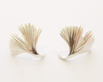 Ginkgo leaf earrings 925 Silver or gold plated