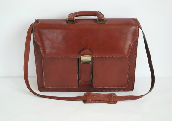 Vintage Brown Leather Briefcase,  Brown Men's Briefcase, Men's Handbag, Men's Satchel