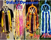 Made 2 Order Mini Vdub Dreamcatcher, VW campervan, VW Beetle, VW Bus, Rear view mirror cham, vw camper van, Yarn Art, Small boho hippie gift