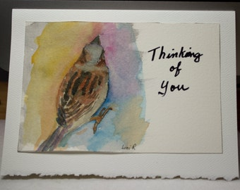 Hand Painted Greeting Card, Thinking of you, Blank Card, Original Watercolor Card, Sparrow, Bird, Nature, Free Shipping