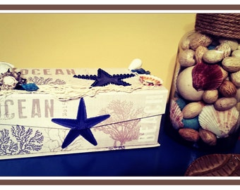 Medium Nautical/beach decorative keepsake box/beach decor/memory box