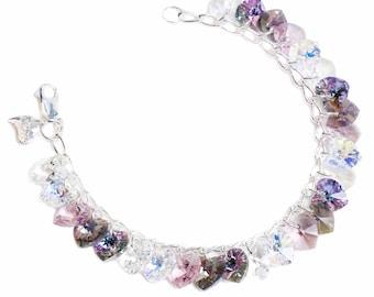 Aura Pinks Heart to Heart Sterling Silver & SWAROVSKI crystal Charm Bracelet