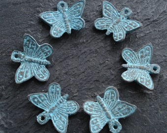 Patina Butterfly Charm, Pack of 6, Mykonos Beads, Greek Metal