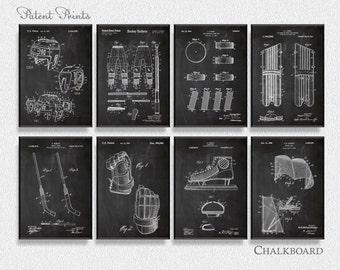 Hockey Patents Set of 8 Prints, Hockey Prints, Hockey Posters, Hockey Blueprints, Hockey Art, Hockey Wall Art, Sport Prints, Sport Art