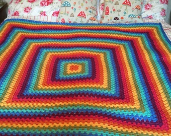Hand crocheted rainbow granny square blanket/throw 160cm x 160cm