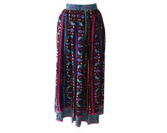 Vintage Oscar de la Renta Printed Silk Skirt 1980s'