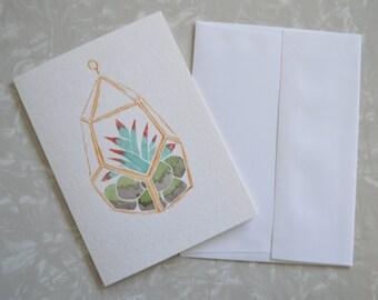 Hand painted terrarium watercolor card