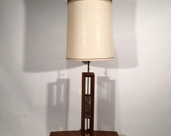 Mid Century Teak and Tumbled Abalone Lamp