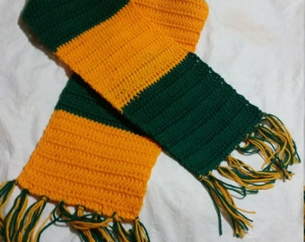 Forest Green & Gold Striped Scarf