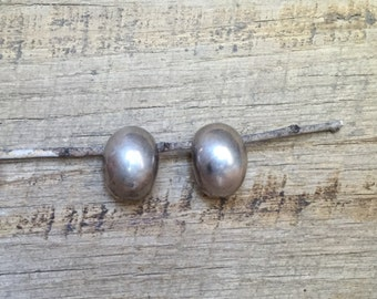 Vintage Taxco, Mexico Big Sterling Silver Dome Oval Clip On Earrings