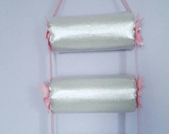 head band holder or headband holder headband organizer white metallic, triple - 3 tiers holder