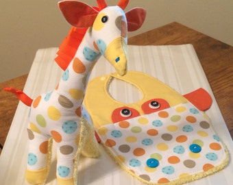 Adorable Giraffe Baby Bib with Doll - Great Baby Shower Gift - Soft Baby Bib - Yellow Bib - Giraffe Bib Set- Spring  Bib - Modern Baby Bib