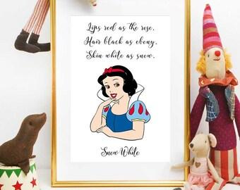 Princess Snow White, Disney Princess Print, Snow White Quote, Nursery Girl Decor, Disney Quotes, Disney Printables, Snow White Party