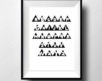 A4 Monochrome children's nursery play room alphabet triangle print