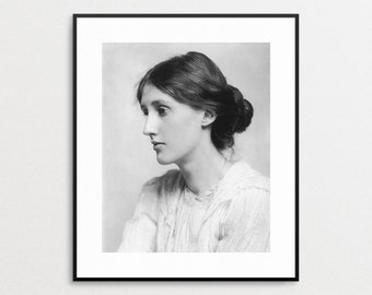 Virginia Woolf Photograph - Vintage Photo Reproduction - Black and White Wall Art - Feminist - Author - Writer - Gift for Her - Book Lover