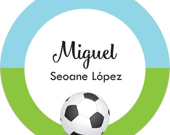 Digital Printable Personalized Gift Tags - Round Personalized Boy Gift Tags - Soccer Sticker Favor Tags - Personalized Printable Labels